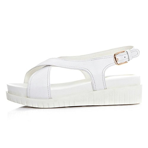 Adee Mujer American Muffin Buttom hebilla piel sandalias Blanco - blanco