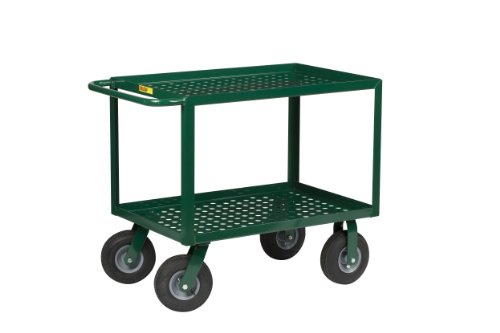 Little-Giant-LGLP-2448-9P-G-Perforated-Deck-Service-Cart-with-9-Pneumatic-Wheels-1000-lbs-Capacity-48-Length-x-24-Width-x-35-Height