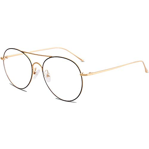 SOJOS Photochromic Blue Light Blocking Glasses Round Computer Glasses for Women Because Of You SJ5023 with Gold Frame/Anti-blue light ()