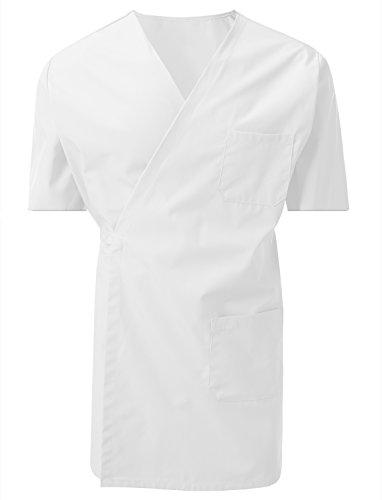 (7 Encounter Unisex Multifunctional Short Sleeves Wrap Smock Chest Side Pockets White Size S/M)