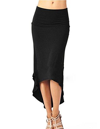 Minetom Femme t Automne Fendue Asymtrique Jupe Longue Sexy Mode Extensible Jupe Elegant Mini Crayon Skirt Jupe Noir