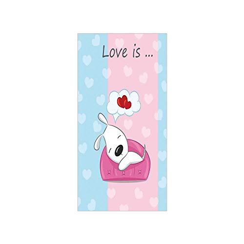Decorative Privacy Window Film/Puppy Dreaming on the Sofa with Heart Symbol on Background Valentine Artwork/No-Glue Self Static Cling for Home Bedroom Bathroom Kitchen Office Decor Blue Pink White