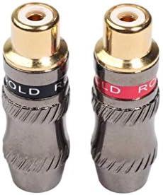 持ち運びが簡単 DIYオーディオケーブル&ビデオケーブル、小型、軽量で持ち運びが容易なためTR026-1 2 PCS RCAメスプラグオーディオジャックゴールドメッキアダプター