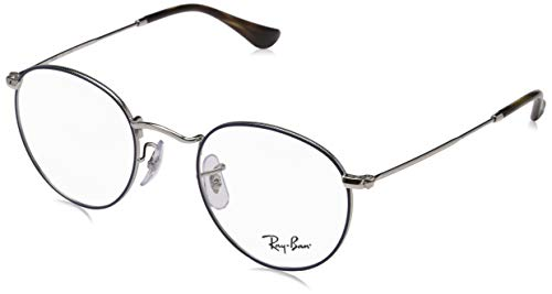Ray-Ban Men's RX3447V Round Metal Eyeglasses Silver On Top Blue 47mm (3447 Blue Ban Ray)