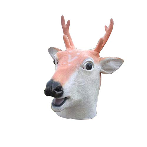 WeiYun Scary Latex Sika Deer Mask Lifelike, Simulation Deer Animal Face Mask, Cosplay Costume Fancy Party Props Party Favors for Halloween Eve,Latex Head Mask Toy Gift 1Pcs for $<!--$15.29-->