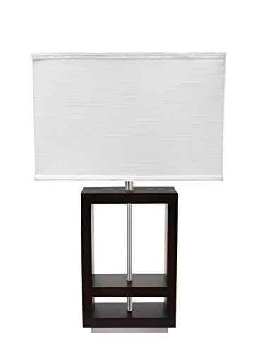 Aspen Creative 40116 26 High Transitional Table Walnut Wood Finish and Rectangle Shaped Lamp Shade (9), (16 1/2