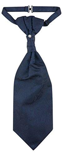 Vesuvio Napoli PreTied ASCOT Paisley NAVY BLUE Color Cravat Men's Neck Tie