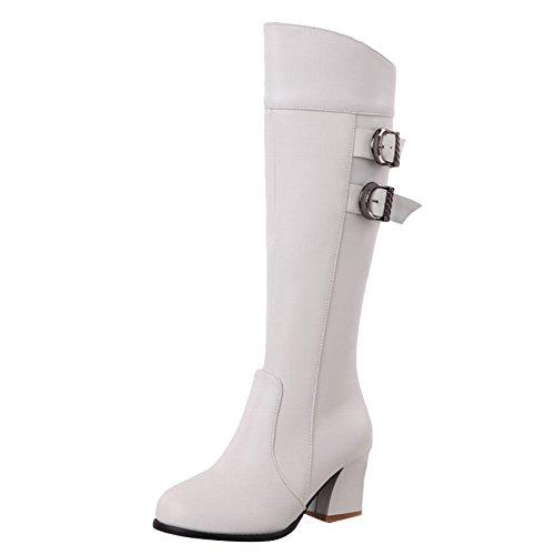 Carolbar Women's Chic Stylish Mid Heel Buckle Zippers Knee High Boots White