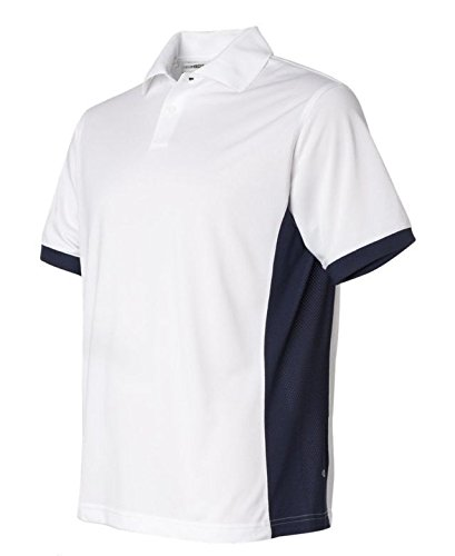 Mens Climacool Pique Polo Shirt - Men's ClimaCool Pique Colorblock Polo by Adidas - White/navy A28 XXL