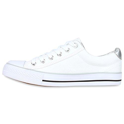 Stiefelparadies Damen Sneakers Glitzer Blumen Sneaker Low Stoffschuhe Denim Animal Prints Canvas Schuhe Übergrößen Flandell Weiss Silber