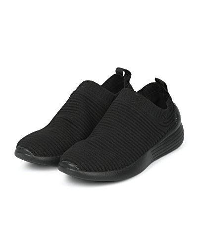 Alrisco Dames Geribbelde Slip Op Sok Jogger Sneaker - Hf87 Door Wild Diva Collectie Zwart