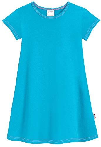 City Threads Big Girls' Cotton Short Sleeve Cover Up Dress for Sensitive Skin SPD Sensory Friendly, Turqy, 12 Turquoise -