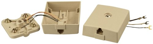 Allen Tel Products AT214B4 1 Port, USOC Wiring, 6 Position, 4 Conductor Modular Surface Outlet Jack, -