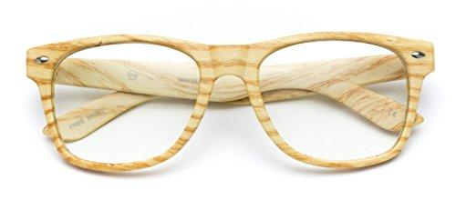 WearMe Pro - Vintage Inspired Classic Wood Print Nerd Horn Rimmed Clear Lens - Rimmed Glasses Wood
