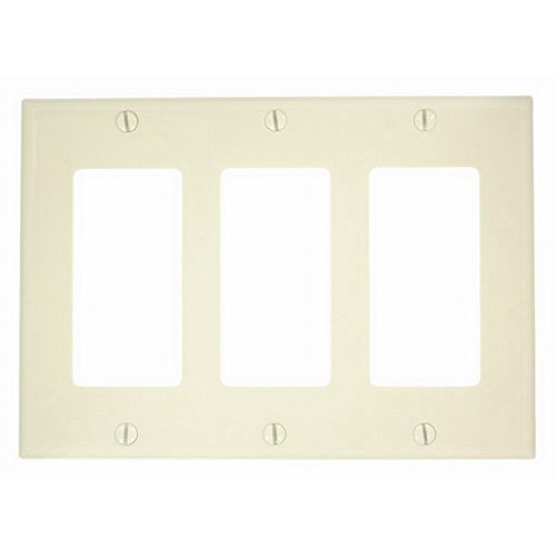 Leviton Decora 3 Gang Nylon (Leviton 80411-NA Decora/GFCI Wallplate, 3-Gang, Nylon, Almond, Standard)