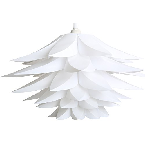 Pendant Outdoor Medium Lighting (Lightingsky DIY IQ Jigsaw Puzzle Toy Lotus Flower Lamp Shade Ceiling Pendant for Room Decoration (1, White))
