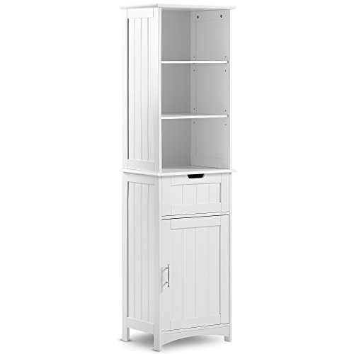 VonHaus Tall Bathroom Storage Cabinet Unit with 5 Shelves and Drawer - Classic White Finish with Chrome Handle by VonHaus