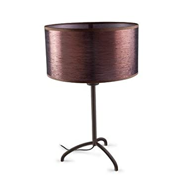 Spica Table Light With Old Copper Silk Shade In Rusty Brown