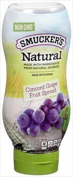 Smuckers Natural Concord Grape Squeeze Bottle Fruit Spread 19 Oz