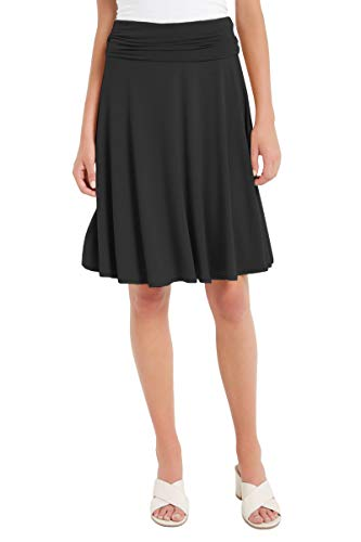 12 Ami Solid Basic Fold-Over Stretch Midi Short Skirt Black Large