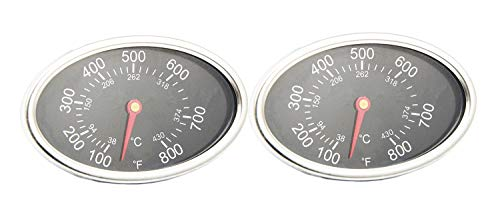 VICOOL Replacement Lid Thermometer Gas Grill Stainless Steel Heat Indicator for Aussie, BBQ Grillware, Dyna-Glo, Brinkmann, Uniflame and Other Gas Grill Models, hyT54A (2-Pack)