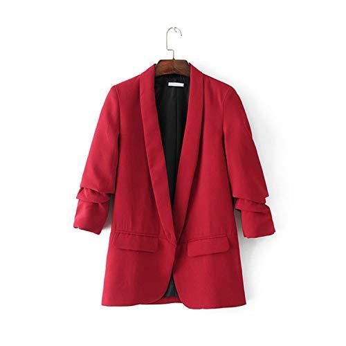 2019 Women Casual New Black Folded Sleeve Office Ladies Blazer Business Jacket Polka dot Print Female Jacket,Red,L