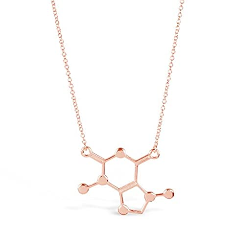 "Rosa Vila Caffeine Molecule Necklace, Chemistry Lovers Necklace, Novelty Coffee Lover Jewelry for Women, Science Geek Necklace, 19"" Chain (Rose Gold (Rose Gold Tone Chain)"