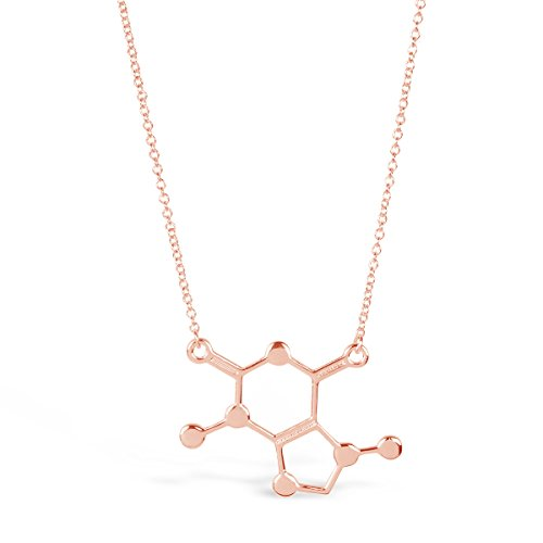 """Rosa Vila Caffeine Molecule Necklace, Chemistry Lovers Necklace, Novelty Coffee Lover Jewelry for Women, Science Geek Necklace, 19"""" Chain (Rose Gold (Brown Rose Pendant)"""