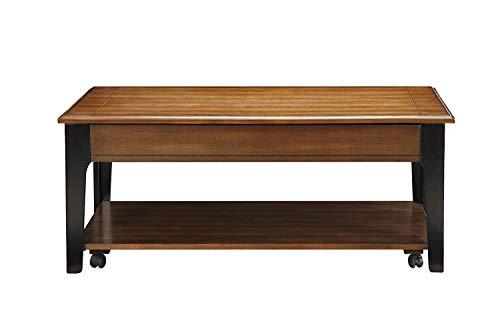 Major-Q Contemporary Lift Top Brown Oak Black Finish Coffee Table, 9080260