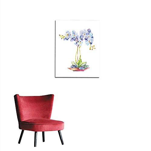 Potted Floral Wallpaper Border - longbuyer Home Decor Wall Orchid Potted Watercolor Blue Orchid in a Pot Mural 24