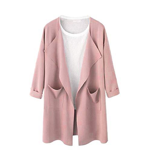 Sweat Manteau Femme Contrastant Rose Veste Dames Manteau Femmes Trench Mode Outwear Causal MEIbax Coat avec Long Passepoil Cardigan Ouverte RxqtFYwA