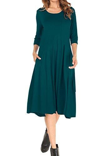MOLERANI Women's A-line Swing Flare Midi Dress 3/4 Sleeve Splice Pocket Casual Long Dresses (XL, Dark Green)