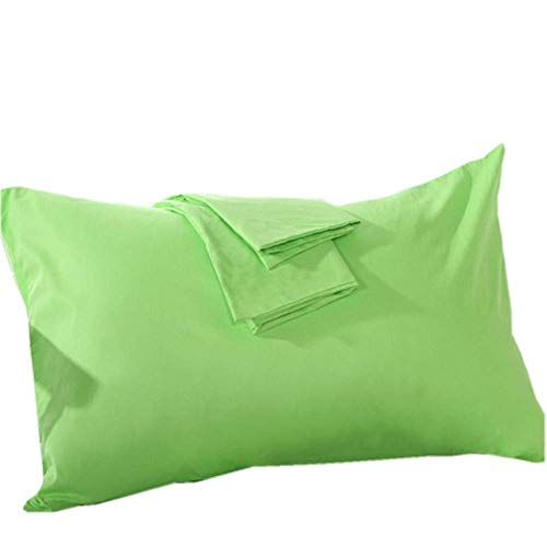 YAROO Pillow Cases Queen Size(20x30),100% Cotton 250 Thread Count,Envelope Closed,No Zipper,Set of 2,Lime Green