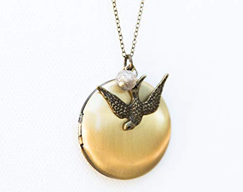 (Antique Brass Locket with Sparrow Bird Necklace Long Necklace Mothers Day Gift for Her)