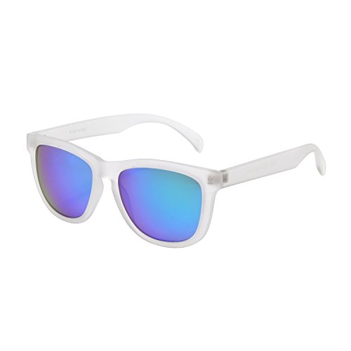 KENTKING Polarized Wayfarer Sunglasses,Unisex Clear Matt Frame TAC Mirrored Lens Beach Sunglasses (Matt Clear/Ice (Frame Adult Unisex Sunglasses)