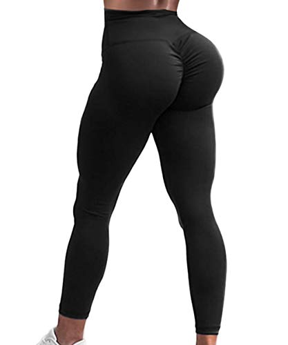 A AGROSTE Women's Yoga Pants High Waist Scrunch Ruched Butt Lifting Workout Leggings Sport Fitness Gym Push Up Tights Black