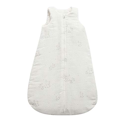 TILLYOU 100% Cotton Muslin Sleeveless Sleep Bagand Sack for Winter,Fits Infants Newborns 6-12 Months, MediumM, White Elephant, TOG 2 Super Soft Warm and Cozy