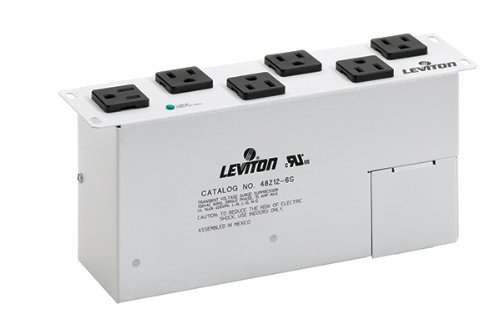 Leviton 48212-6S AC Power Surge Module with 6 NEMA Receptacles for Input: 120Vac, 50/60Hz Max Current 15Amp UL Vpr: L-N/L-G/N-G: 600Vp by Leviton (Image #1)