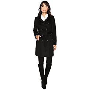 LAUREN Ralph Lauren Double Breast Faux Fur Collar Military Black Women's Coat