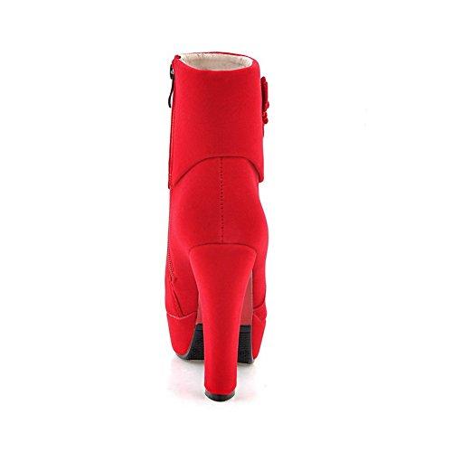 Balamasa Femmes Talons Chunky Plate-forme Glissière Bottes Givrées Rouge