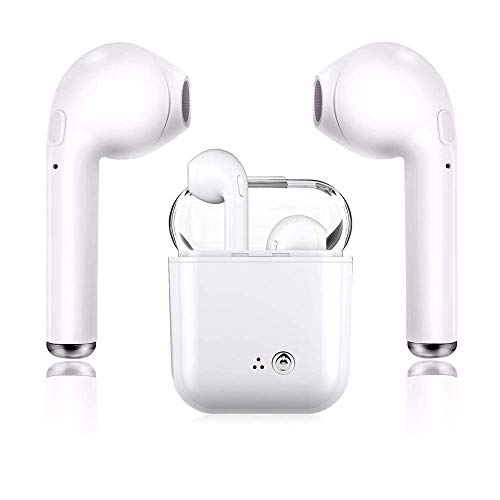 Wireless Earbuds Bluetooth Headsets Stereo Earphones Sweatproof Sports Headsets for iPhone Xs MAS/Xr/X/8/7/6/6s Plus Samsung Galaxy S10 S9 S8 Plus and Android Phones-White