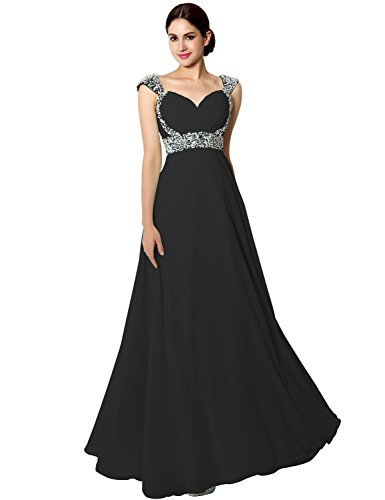 Sarahbridal Women's Long Chiffon Prom Dress Evening Gown with Beading Black US16