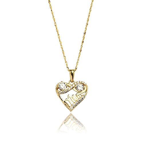 18'' 10K Yellow Gold Heart and Infinity Mom Cubic Zirconia Pendant Necklace for Women by SL Gold Imports