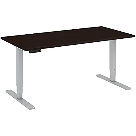 Move 80 Series 60W Height Adjustable Standing Desk In Mocha Cherry Satin With Cool Gray Metallic Base