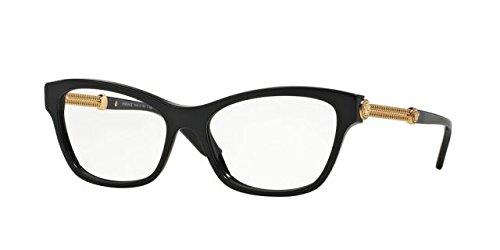 Versace VE3214 Eyeglass Frames GB1-54 - Black - Versace Cat Eye Frames
