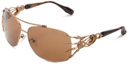 Affliction Sunglasses Scythe 2 Rectangular Sunglasses,Tortoise & Antique Gold,62 - Affliction Sunglasses