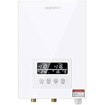 Tankless Water Heater Electric ECOTOUCH 9KW 240V On Demand Water Heater Self-Modulating Instant Hot Water Heater ECO90 White ...