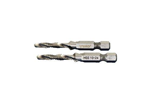 TEMO 2 pc 10-24 Combination Drill and Tap Multi Use Deburr Countersink Hex Bit by TEMO