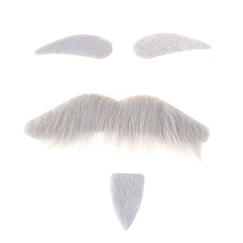 LUOEM Three-Piece Novelty Halloween Costumes Self Adhesive Fake Eyebrows Beard Moustache Goatee Kit Facial Hair Cosplay Props Disguise Decoration for Masquerade Costume Party (Grey) -