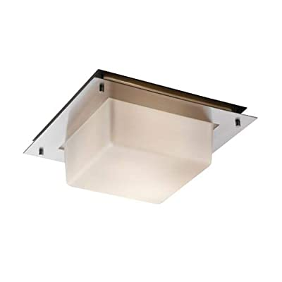 """Justice Design Group FSN-5565-OPAL Fusion Collection 12"""" Wide Flush-Mount/Wall S, Brushed Nickel"""